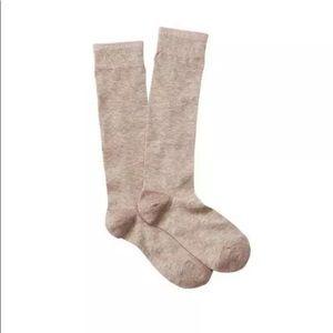 Loft Sparkle Trim Boot Socks  OS Made USA Beige